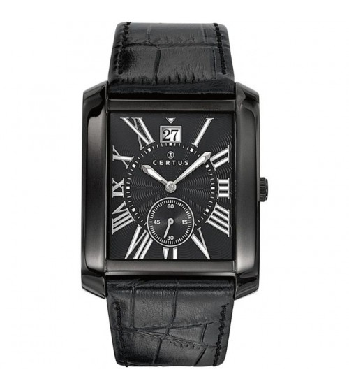 montre certus noire cuir rectangulaire homme 610988 montres et plus. Black Bedroom Furniture Sets. Home Design Ideas