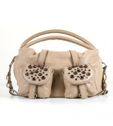 Sac Loulou, poches avec strass, kraft/beige