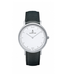 MONTRE KAPTEN & SON CAMPUS SILVER BLACK LEATHER