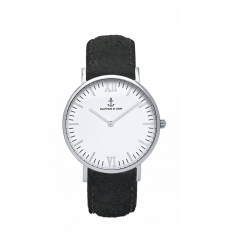MONTRE KAPTEN & SON CAMPUS SILVER BLACK VINTAGE LEATHER