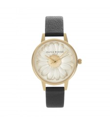 Montre Femme OLIVIA BURTON Enchanted Garden Moulded Daisy Black and Gold OB15EG38